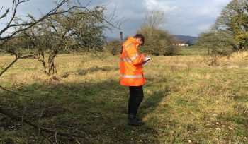 JBA Callum Hanson - Geotechnical graduate - on-site at Ulverston