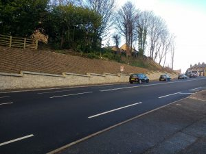 JBA Salterhebble Hill greenwall on the A629 - uphill