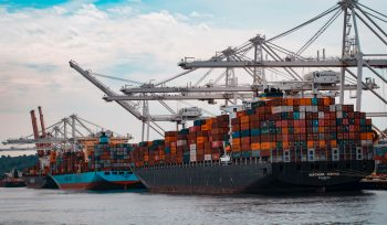 Port and shipping containers image