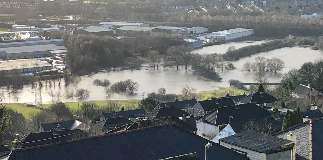 River Aire in flood_Keighley