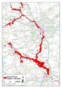 Recorded Flood Outlines for Storm Dennis showing areas surrounding York and Selby