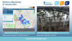 Flood Foresight modelled flood extent and depths, Didsbury 2021